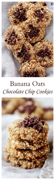 Banana Oats Chocolate Chip Cookies | www.diethood.com | Delicious, healthy cookies, made with just 4 ingredients!