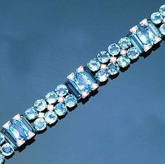 An aquamarine and diamond bracelet, by Cartier, Aquamarine Bracelet, Gemstone Bracelets, Gemstone Jewelry, Cartier Jewelry, Jewellery, Art Deco, Aqua Marine, Diamond Cuts, Bracelet Watch