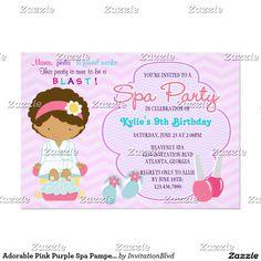 Termas roxos cor-de-rosa adoráveis que Pampering a Convite 12.7 X 17.78cm