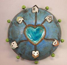 Heart Lake...3D Wall Globe in Stoneware
