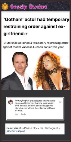 PJ Marshall obtained a temporary restraining order against model Vanessa Lunnon earlier this year. Celebrity Couples, Celebrity Gossip, Celebrity Photos, Celebrity News, Gotham News, Free Facebook Likes, Nose Hair Trimmer, Latest Gossip, Hollywood Gossip