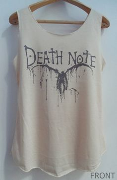 Death Note Shirt -- Shirt Artist Painter Shirt Women Shirt Tank Top Women T-Shirt Singlet Tunic Vest Unisex Sleeveless Size S,M,L by ericka Vintage Hipster, Casual Cosplay, Anime Outfits, Cool Outfits, Tank Top Shirt, Tank Tops, L Death Note, Cooler Look, Anime Merchandise