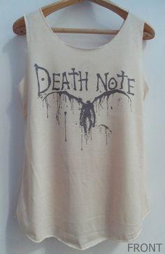 Death Note Shirt -- Shirt Artist Painter Shirt Women Shirt Tank Top Women T-Shirt Singlet Tunic Vest Unisex Sleeveless Size S,M,L