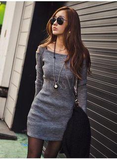 Grey Chic Slim Long Sleeve Dress