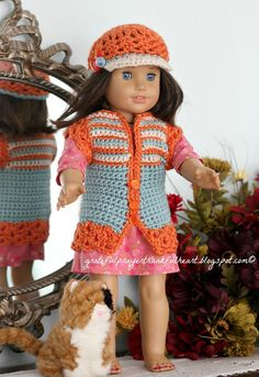 Our granddaughters, Keri, Brenna and Shaela love their American Girl dolls.   I crocheted these cute retro vests and hats as Christmas gift...
