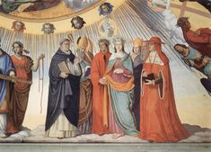 Dante and Beatrice speak to the teachers of wisdom Thomas Aquinas, Albertus Magnus, Peter Lombard and Sigier of Brabant in the Sphere of the Sun (fresco by Philipp Veit), Canto 10.