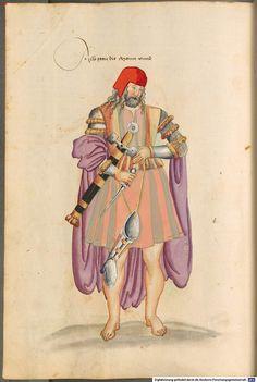 """Irishman illustration, from """"Kostüme der Männer und Frauen in Augsburg und Nürnberg, Deutschland, Europa, Orient und Afrika"""", pg 42r"""