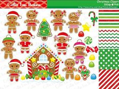 Gingerbread and Christmas Candy House Clipart includes 28 cute graphics + 4 background.    Graphics are PERFECT for the Scrapbooking, Cards