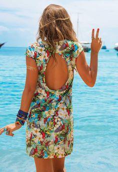6404a902a Vestido com Decote nas Costas De Chelles Acqua