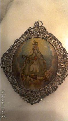 Antigüedades: Gran Relicario en filigrana de plata S.XVIII con óleo bajo cristal - Foto 2 - 58102711