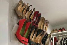 {crown moulding, repurposed as shoe storage}