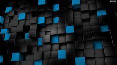 Free Black Blue Cube 3D Wallpaper