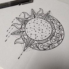 Celestial Sketch - Stunning Sun and Moon Tattoo Ideas - Photos