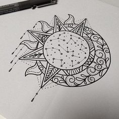 Celestial Sketch - Stunning Sun and Moon Tattoo Ideas - Photos