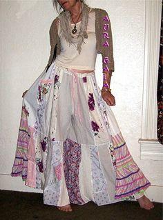 AuraGaia ~She's a Flower~ Skort Skirt Pants Poorgirls Wide Leg Upcycled XS-2X linen cotton rayon patchwork