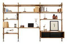 Medium Shelves unit: Desk: Clothing rail and drawer: The Theo Wall Unit features solid oak panels that allow for multiple storage options and versatility within your home or office space. Each unit is sold separately. Corner Furniture, Interior, Home, Home Office Furniture Sets, Shelving Unit, Large Bookshelves, Furniture Design, Wall Unit, Shelving