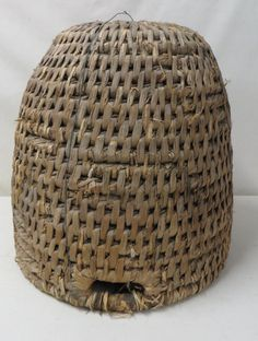 """Rye grass coiled bee skep - 19th century. 17""""H x 1"""
