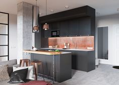 minimalist gray kitchen decor