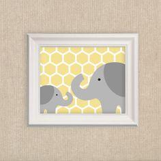Elephant Nursery Art Print in Yellow - Modern Jungle Nursery Mom and Baby Elephant Print