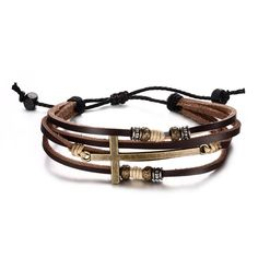 Retro Cross Rope Chain Leather Bracelet