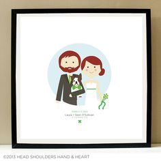 www.HeadHandHeart.etsy.com Custom Portrait Couple and Pet - Wedding Illustration by Head Hand & Heart