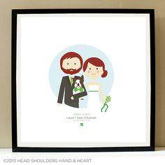 Custom Portrait Couple and Dog Wedding Illustration