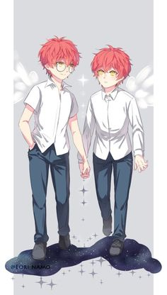 Saeyoung of Justice) and Saeran (Unknown) Mystic Messenger Game, Mystic Messenger Characters, Anime Oc, Manga Anime, Anime Siblings, Saeran Choi, Saeyoung Choi, Anime People, Illustrations