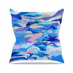 """Ebi Emporium """"Still Up The Air"""" Blue Purple Outdoor Throw Pillow"""