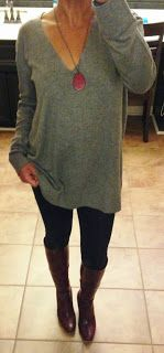 AG Jeggins, Franco Sarto tall boots, H&M oversized sweater