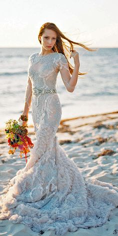 18 Beautiful Feather Wedding Dresses -Trend For 2016 ❤ See more: http://www.weddingforward.com/feather-wedding-dresses/ #weddings #dresses
