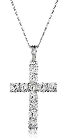 2ct Diamond Cross & 18ct White Gold Chain | Gordon House Jewellers Diamond Cross Necklaces, Diamond Jewelry, White Gold Diamonds, Colored Diamonds, Family Jewels, Cross Jewelry, Gold Cross, Girls Jewelry, Diamond Are A Girls Best Friend