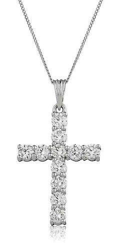 2ct Diamond Cross & 18ct White Gold Chain | Gordon House Jewellers