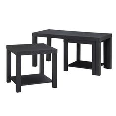 Simpson Black Coffee Table and End Table Set (3-Piece)