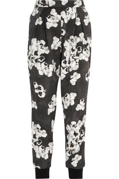 Giambattista Valli|Cropped floral-print cotton-blend tapered pants