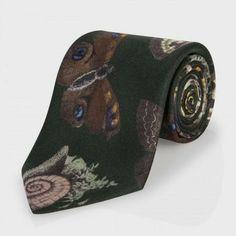 Paul Smith Men's Ties - Green Insect Print Silk Tie