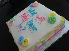 Very cute idea for a gender reveal cake!:)