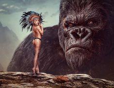 Czech girl and King Kong - digital art Jungle Love, Very Good Girls, King Kong, Godzilla, Cool Girl, Fantasy Art, Digital Art, Photoshop, Illustration
