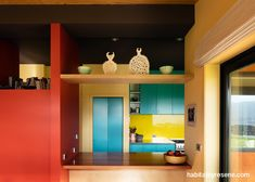 This sunlit home by Aonui Architecture makes the most of bold, durable Resene paints. The kitchen features Resene Thunderbird around the fridge, with Resene Toto on the cabinetry and Resene Sunflower on the walls. Resene Colours, Independent House, Grey Houses, Bedroom Red, Latest Colour, House Paint Exterior, House Entrance, Commercial Design, House Painting