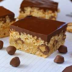 Peanut butter/chocolate rice krispie bars...triple delight!