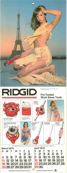 RIDGID Calendar: March - June 1979 Calendar Girls, Calendar March, These Girls, Growing Up, Pin Up, Wonder Woman, Superhero, Plumbing