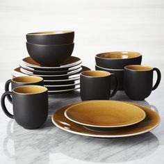 Jars Tourron Amber 16-Piece Dinnerware Set - Crate and Barrel