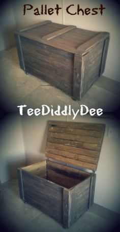 "Pallet Furniture Projects The Best tutorials for ""How to build a STORAGE CHEST"" - Make an Easy Rustic Storage Chest Out of Pallet Wood - Make an EASY rustic pallet chest for storage! Pallet Storage, Wood Storage, Storage Chest, Baby Storage, Storage Ideas, Pallet Crafts, Diy Pallet Projects, Pallet Furniture, Furniture Projects"