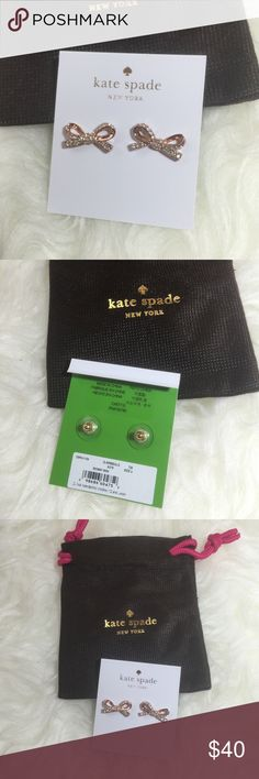Kate Spade Rose Gold Pave Bow Earrings Kate Spade rose gold plated pave bow earrings. 12 karat gold plated metal. 14 karat gold filled posts. kate spade Jewelry Earrings