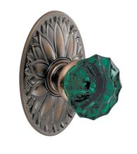 Green Scalloped Glass Knob With Oval Floral Rose, Fusion 20-D9