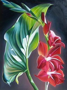 "dyana hesson oil paintings   Dyana Hesson - ""Be Mine"" Calla Lily Leaf & Gladiola"