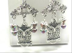 Owl Chandelier Beaded Earrings Trending Jewelry by cynhumphrey, $6.50