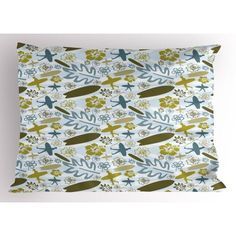 Luau Pillow Sham Beach with Silhouette of Surfer Waves and Exotic Plant Summer Theme, Decorative Standard Size Printed Pillowcase, 26 X 20 Inches, Olive Green Khaki Slate Blue, by Ambesonne Pillow Shams, Pillow Cases, Pillows, Themed Weddings, Exotic Plants, Beach Themes, Luau, Slate, Olive Green