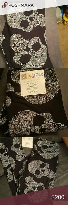 Lularoe leggings OS NWT VHTF*Paisley skulls Black and white lularoe leggings, Onesize Leggings. Major unicorn** Taken out of package only for photo. lularoe  Pants Leggings