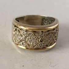 Vintage sterling silver and 18k yellow gold pave set white CZ ring, s... Lot 285