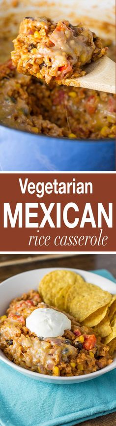 Easy vegetarian mexican rice casserole recipe. Ultra creamy, cheesy, and made with real whole food ingredients. Your family will love this recipe!